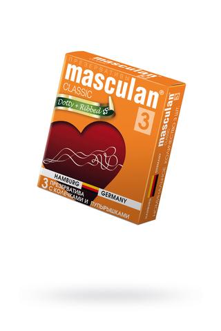 Презервативы Masculan Classic 3 , 3 шт.  С колечками и пупырышками (Dotty+Ribbed)  ШТ