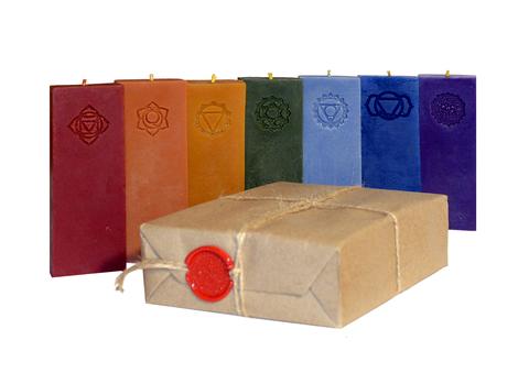 Большой премиальный набор из 7-ми чакровых свечей в бумажной упаковке