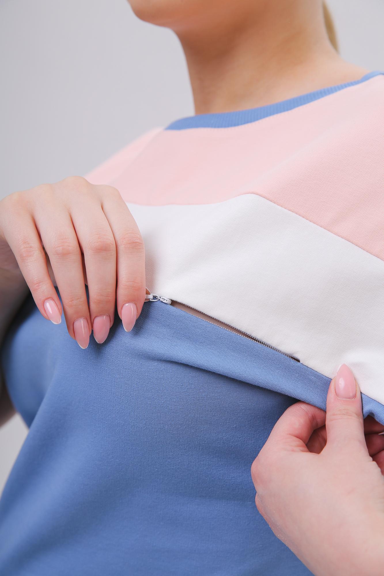 Костюм для беременных и кормящих 10622 серо-голубой