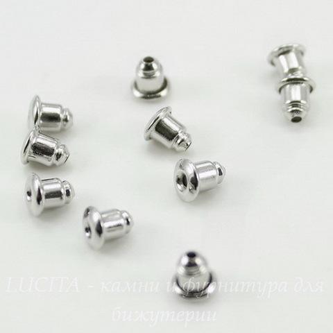 Зажим для пуссет-гвоздиков 5х5 мм (цвет - никель) 5 пар