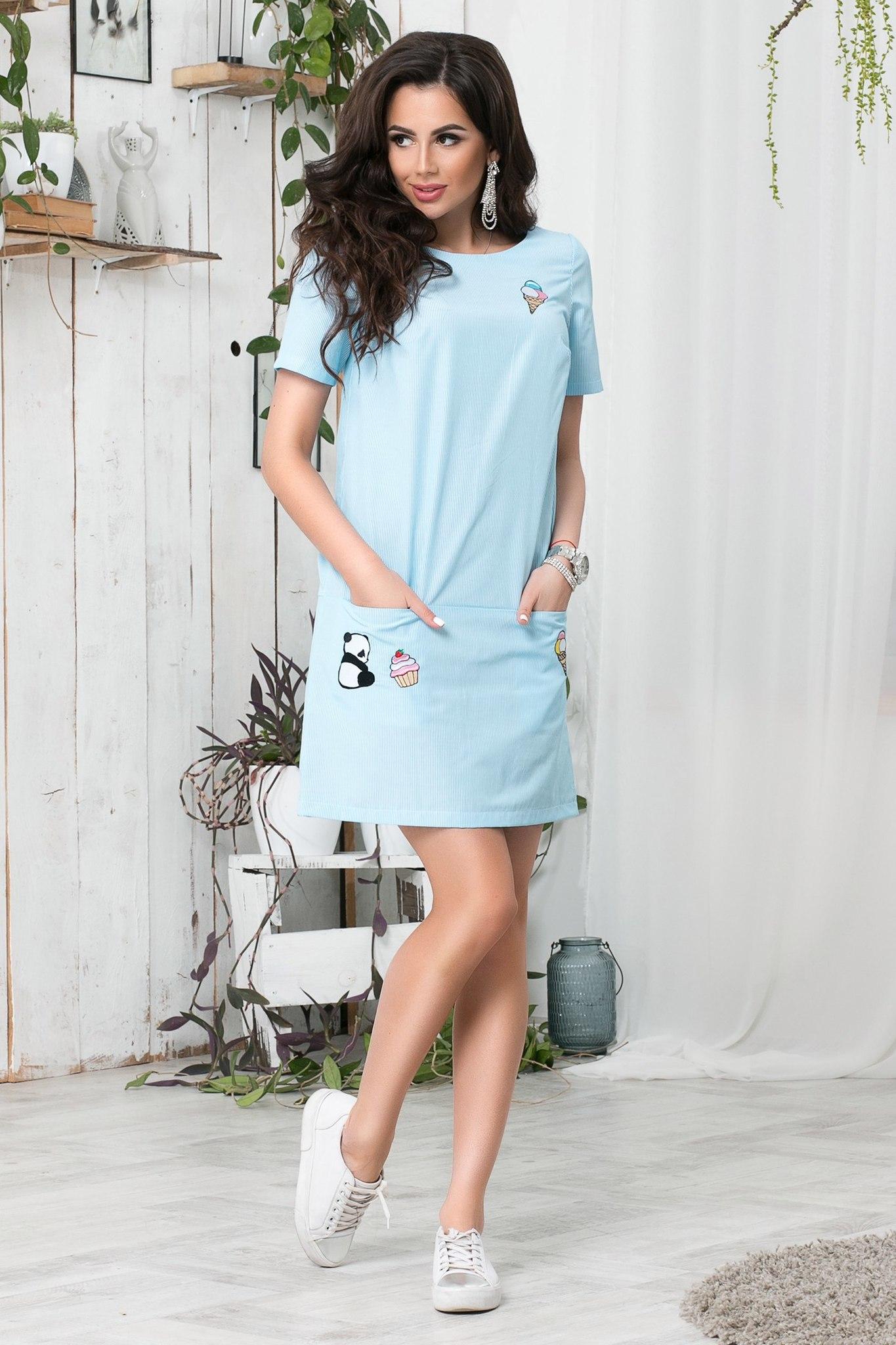 7e339665ef6 Короткое летнее платье с апликацией