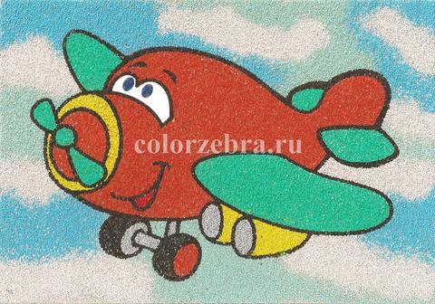 Песочный трафарет для рисования Самолетик А4