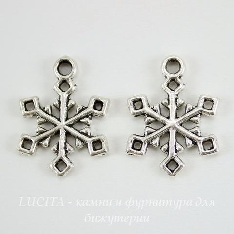 "Подвеска ""Снежинка"" 20х15 мм (цвет - античное серебро)"