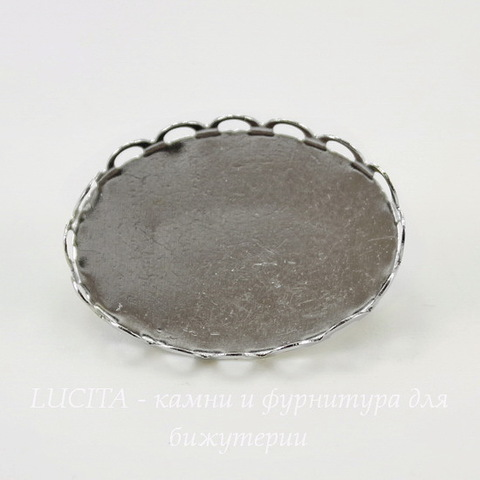 Основа для броши с сеттингом с ажурным краем для кабошона 25х18 мм (цвет - никель)