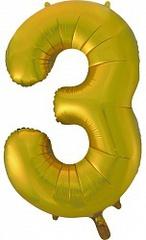 Шар (34''/86 см) Цифра, 3, Золото, 1 шт.