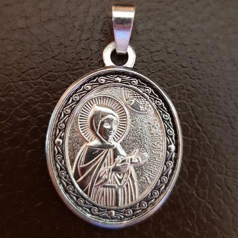 Нательная именная икона святая Аполлинария (Полина) с серебрением кулон с молитвой