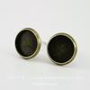 Пуссеты - гвоздики с сеттингом для кабошона 10 мм (цвет - античная бронза)(с заглушками)