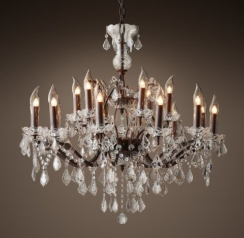 19Th C. Rococo Iron & Crystal Outdoor Chandelier