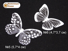 Бабочки  из декоративной пленки белые 5 и 6
