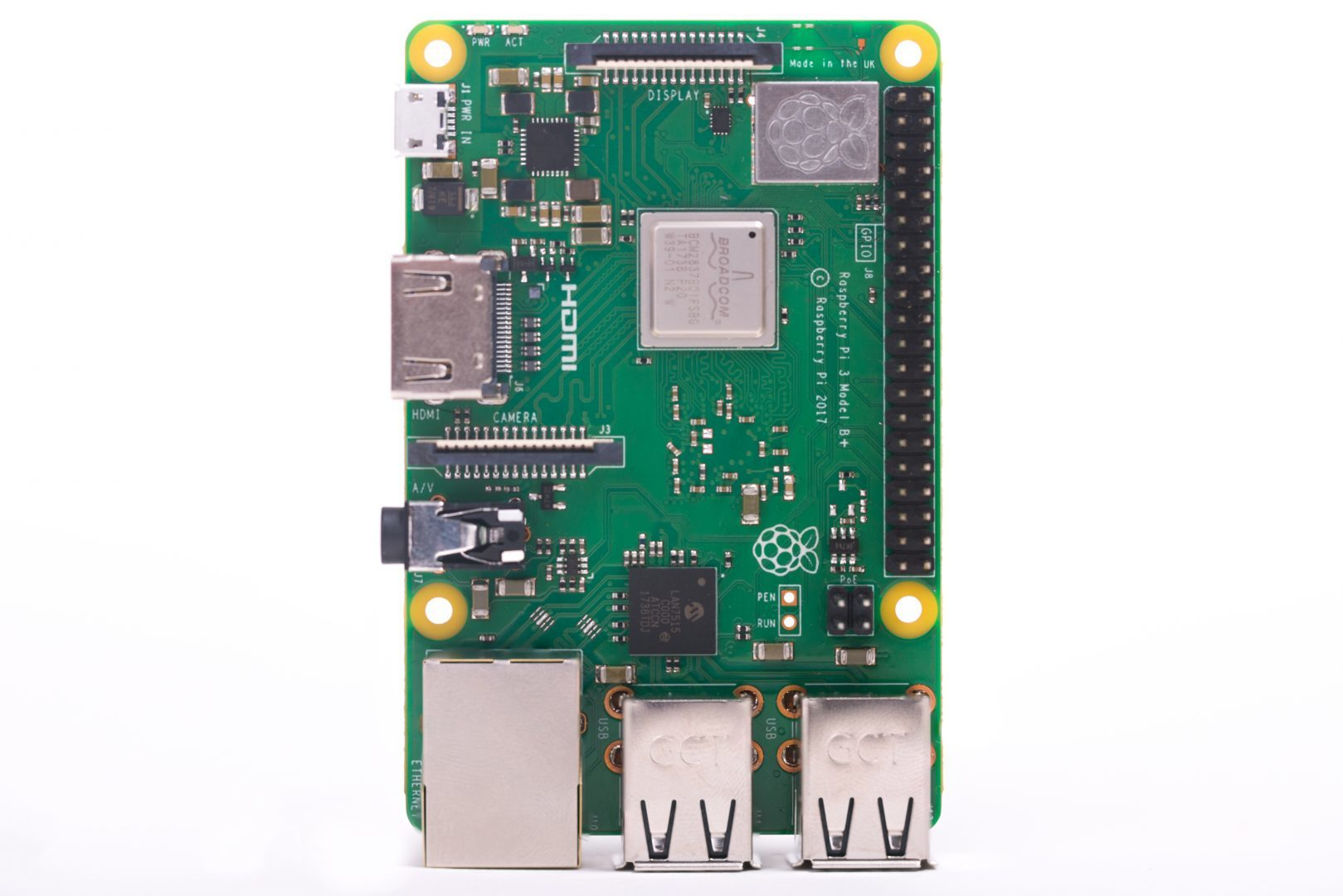 Микрокомпьютер Raspberry PI 3 Model B+ /1GB / BCM2837B0 1.4GHz ARM/ WiFi 2.4GHz/ Bluetooth 4.2
