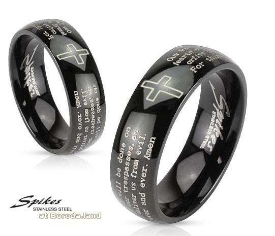 R-M2767 Мужское кольцо черного цвета с молитвой («Spikes»)