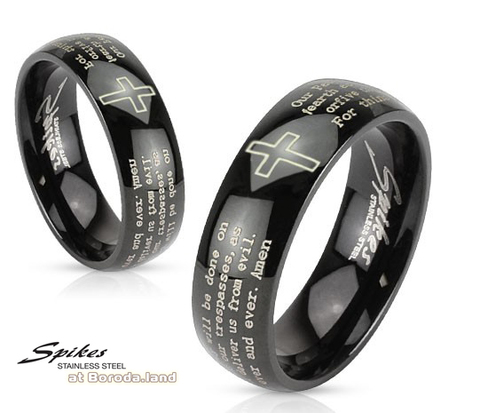 Мужское кольцо черного цвета с молитвой («Spikes»)