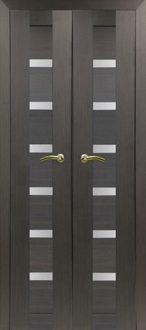 > Экошпон Optima Porte Турин 507.12 (двустворчатая), стекло матовое, цвет венге, остекленная