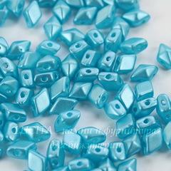 Бусина DiamonDuo mini Ромб с 2 отверстиями, 6х4 мм, голубая