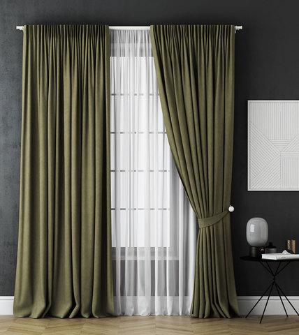 Комплект штор и тюль Грета зеленый