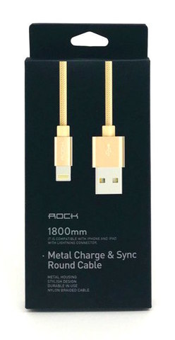 Кабель Lighting USB ROCK 1,8 м (Золотой)
