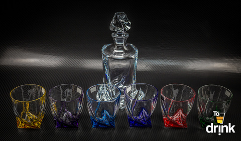 Набор для виски QUADRO Ассорти, 1 штоф и 6 бокалов