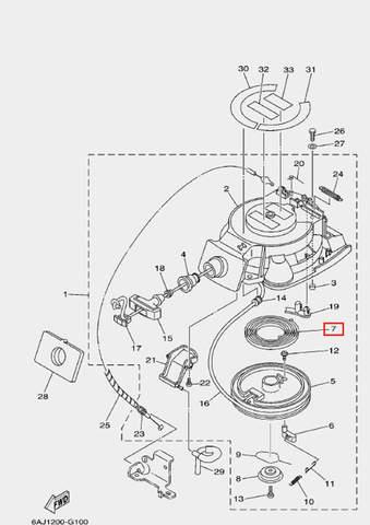 Пружина стартера большая для лодочного мотора F20 Sea-PRO (10-7)