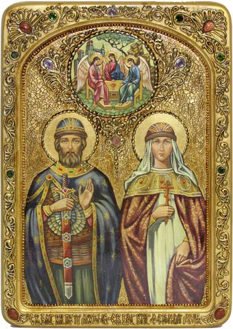 Инкрустированная живописная икона Петр и Февронья 42х29см на натуральном кипарисе в подарочной коробке