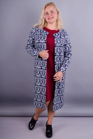 Тренд. Шикарний костюм двійка для дам з пишними формами. Бордо.