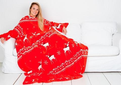 Плед с рукавами Sleepy New Year с оленями, красный