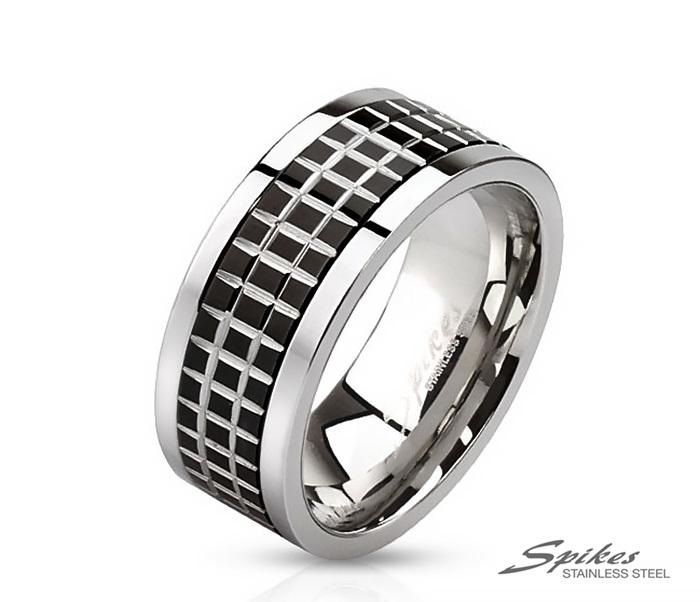 R-M2808 Стальное мужское кольцо с вращающейся вставкой черного цвета, «Spikes»