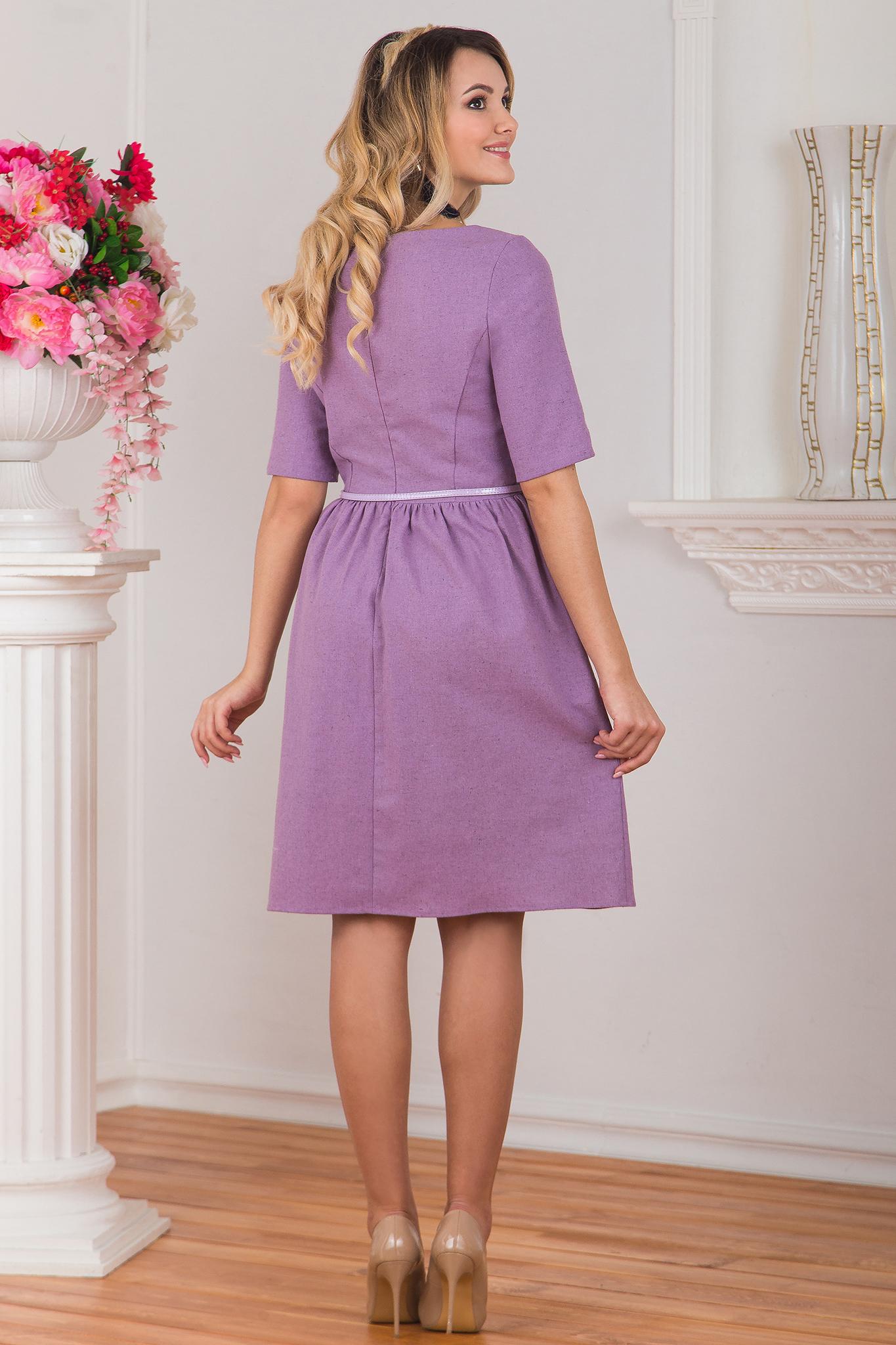 Платье льняное Сирень