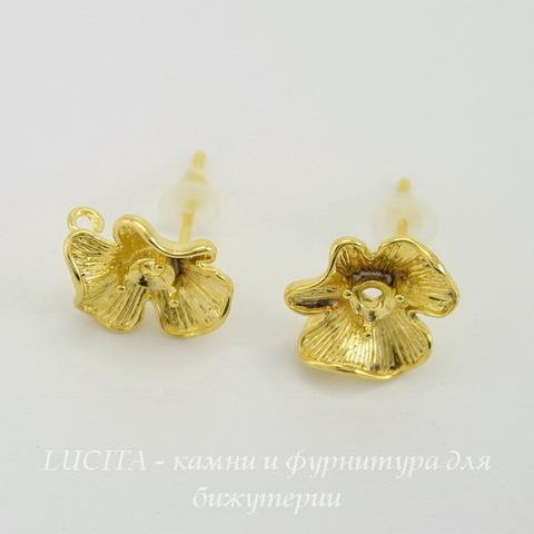 """Пуссеты - гвоздики """"Цветок"""" 11х10 мм (цвет - золото)(с заглушками)"""