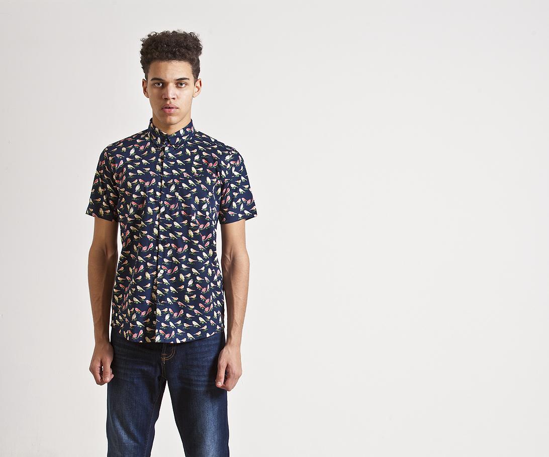 Мужская рубашка с коротким рукавом Weekend Offender Nash Navy. Коллекция весна-лето 2016.
