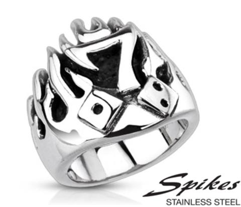 Мужской стальной перстень «Spikes» с семёркой