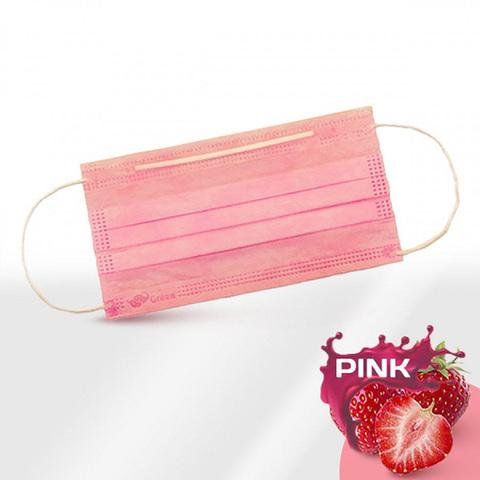 Маски одноразовые медицинские трехслойные с фиксатором розовые, п/э упак, 50 шт/уп