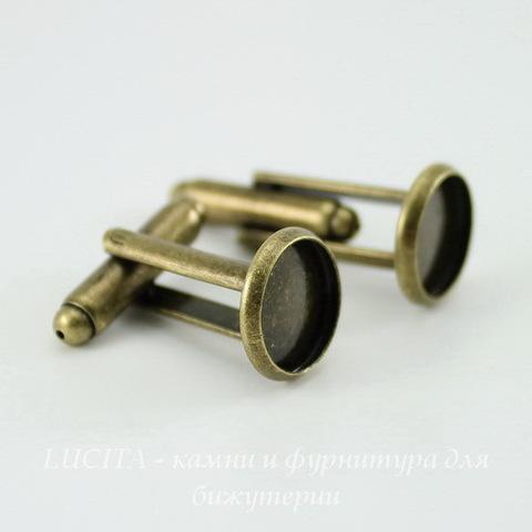 Основа для запонок с сеттингом для кабошона 10 мм (цвет - античная бронза ), 26х12 мм, ПАРА