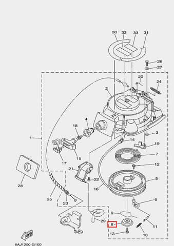 Тарелка барабана для лодочного мотора F20 Sea-PRO (10-8)