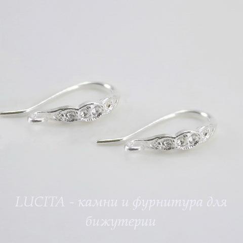 """Швензы - крючки """"Волна"""", 15 мм (цвет - серебро), пара"""