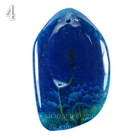 Подвеска Агат Крэкл (тониров), цвет - темный синий, 49-65 мм (№4 (57х36 мм))