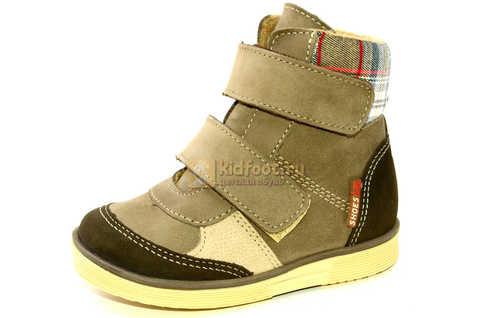 Ботинки для мальчиков Лель (LEL) на байке из натуральной кожи цвет коричневый. Изображение 1 из 14.