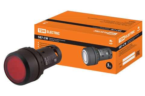 Кнопка SB7-CW3465-220V(LED) d22мм 1з+1р красная TDM