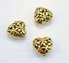 """Бусина металлическая """"Сердце в стрекозах"""" (цвет - античное золото) 15х15 мм"""