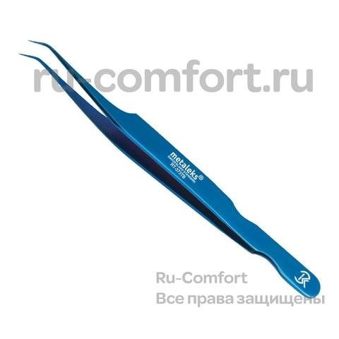 Пинцет для наращивания ресниц, титан/синий, 12см, RT-373TB