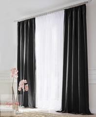 XL-Комплект штор блэкаут (чёрный) и вуаль (белый)