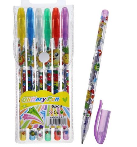 061-9901 Набор гелевых ручек, 6 цветов, металлик, корпус с рисунком, в блистере на кнопке