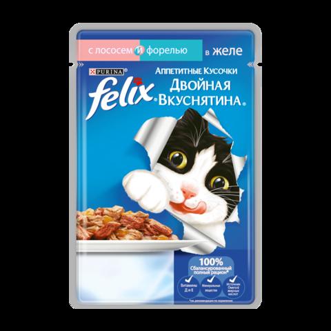 Felix Консервы для кошек Двойная вкуснятина Аппетитные кусочки с лососем и форелью в желе