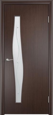 Дверь Сибирь Профиль Волна (с фьюзингом), стекло с фьюзингом, цвет венге 3D, остекленная