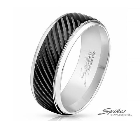 Мужское кольцо из стали со вставкой черного цвета, «Spikes»
