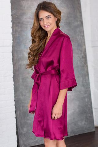Халат женский шелковый вишневый с поясом