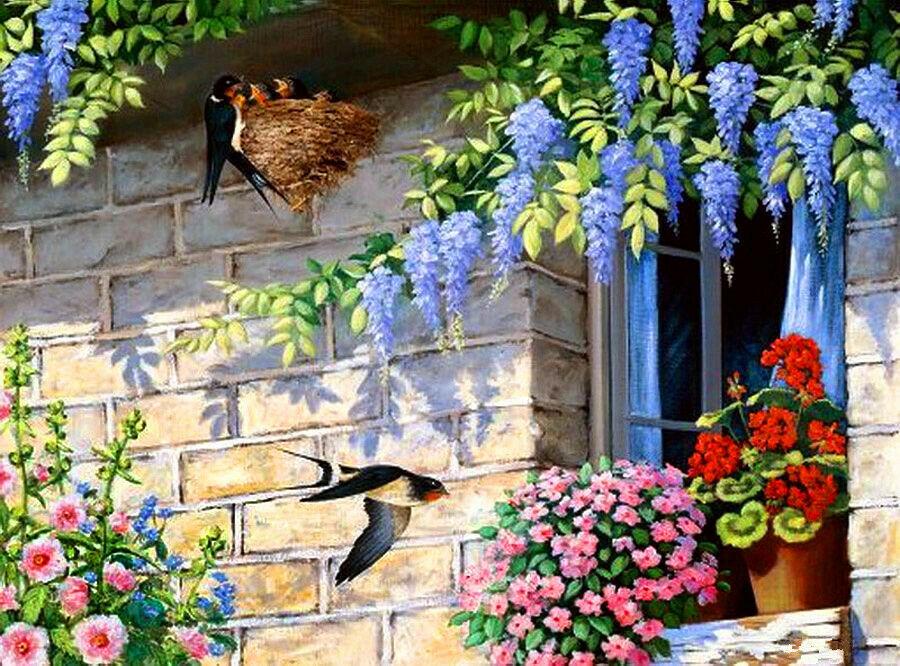 Картина раскраска по номерам 50x65 Птицы и цветы– купить в ...
