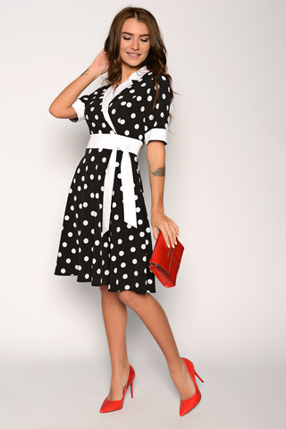 """Платье """"в горошек"""" для романтической дамы. Отложной воротничок. Юбка клёш, с имитацией пояса. Рукав до локтя с манжетой. Отличный вариант для торжества. (Длина: 46-98см; 48-99см; 50-100см; 52-101см)"""
