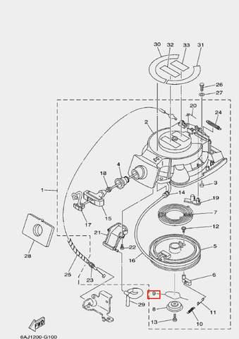 Пружина стартера для лодочного мотора F20 Sea-PRO (10-9)