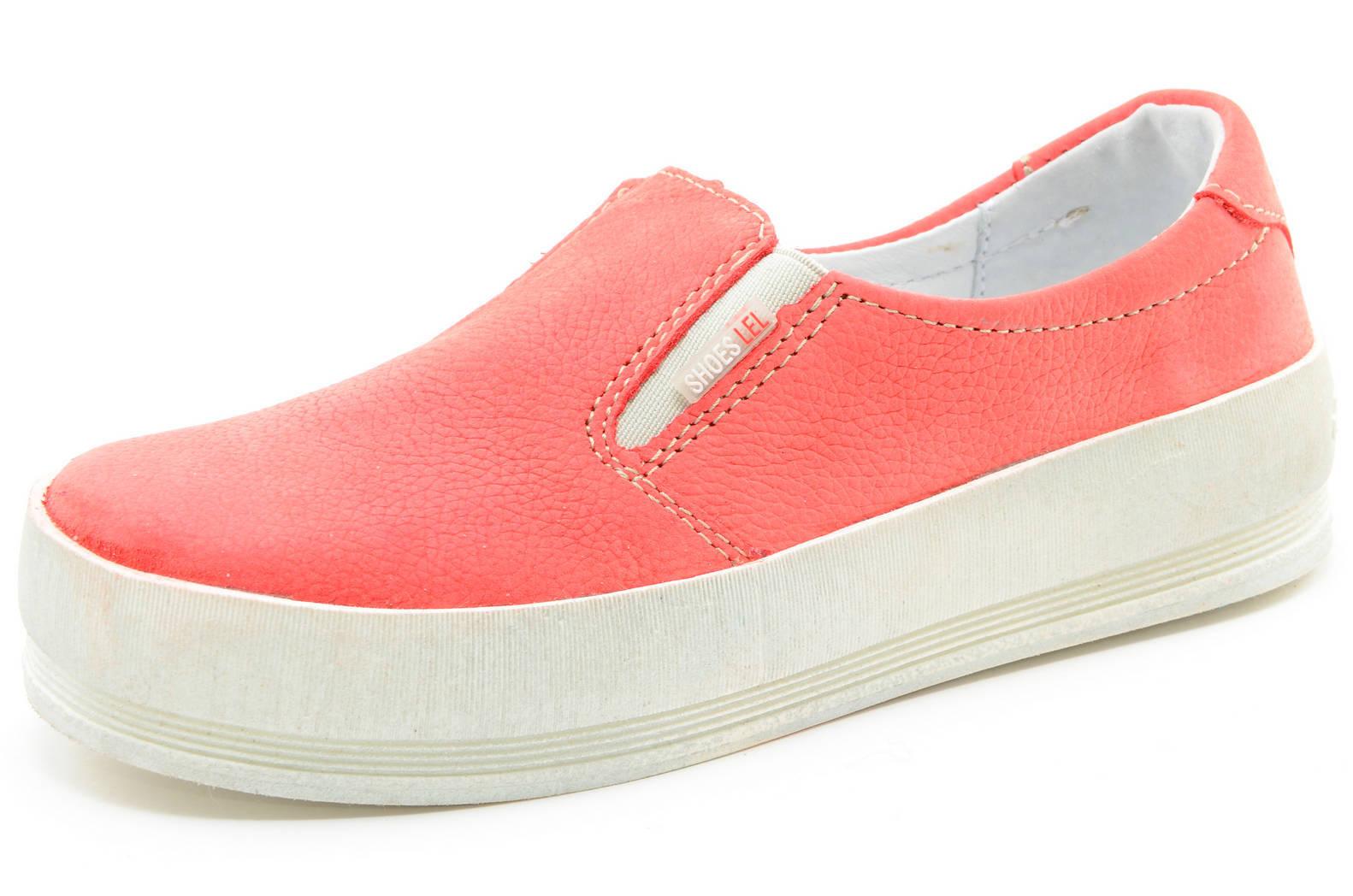 Слипоны на толстой подошве кожаные Лель (LEL) для девочек, цвет коралловый