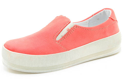 Слипоны на толстой подошве кожаные Лель (LEL) для девочек, цвет коралловый. Изображение 1 из 13.